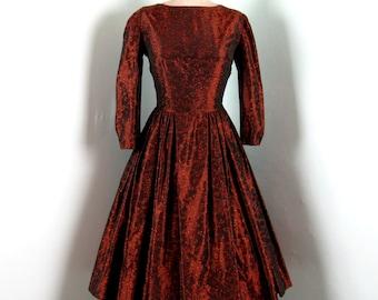 Vintage 1950s Copper Taffeta Dress 50s Taffeta Brocade Full Skirt Party Dress Size 8 Medium