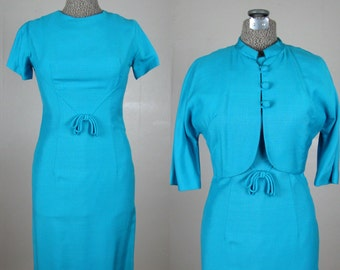 Vintage Early 1960s Sheath Dress and Jacket 60s Rayon Blend Dress in Bright Turquoise 4/S