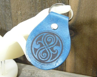 Seal of Rassilon Crest Doctor Who Inspired Key Chain Fob - Gallifrey Symbol Dr Who Companion Time Travel  Fan Fandom - Tardis Blue Leahter