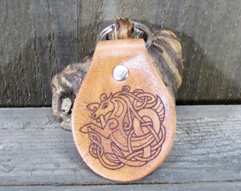 Celtic Horse Knot Key Chain Fob - Irish Ireland Equine Pony Stallion Rodeo Mustang Equestrian - Brown Tan Leahter