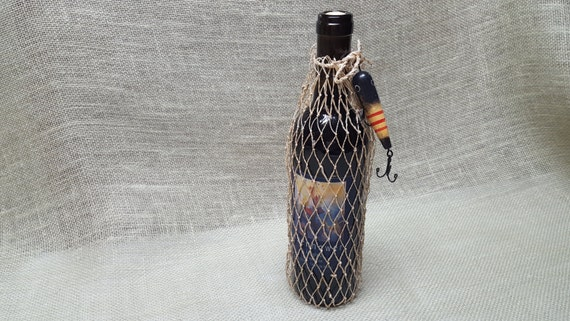 Fish Net Wine or Gift  Bag - Embellished with a Replica Yellow and Red Stripes Lure