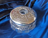 Victorian Cut Glass Hair Receiver Jar with Decorative Silverplated Lid