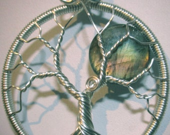 Yellow Fire & Salmon Colored Labradorite  Full Moon Wire Wrapped Tree of Life in Silver, Labradorite Moon Tree of Life