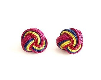1980s Multicolor Straw Knot Earrings