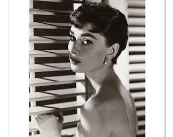 "Audrey Hepburn Blinds B&W Retro Poster Print - Brand New - 32"" x 24"""