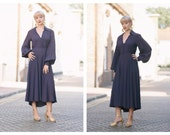 Vintage 60s 70s Ossie Clark Couture Label Purple Midi Dress Balloon Sleeves Button Down Front  size 10 14 uk  s m l