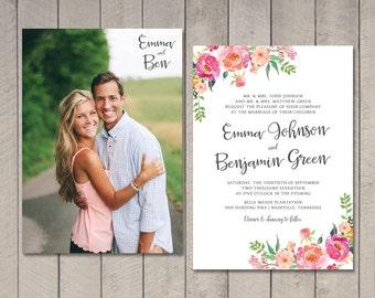 Spring Floral Wedding Invitation (Printable) DIY by Vintage Sweet