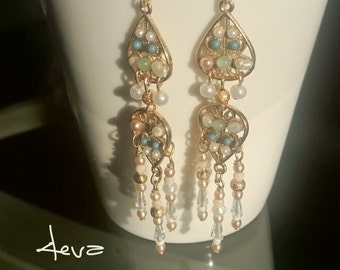 Chandelier Filigree Earrings antic gold earrings in Middle Eastern style.Green and pearl beads