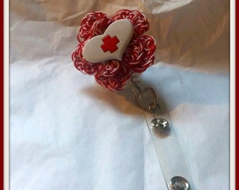 Nurse, Nursing, Nurses Retractable ID Badge Clip Handmade Crochet Made to Order
