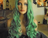 """SPRING SALE - Green Wig - Long Curly Hair Piece - Green Hair - 30"""" Inches Long - Long Bangs - Emo - Cosplay - Rockabilly - Priority Mail"""