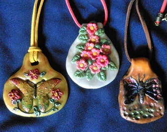 Necklace-OOAK-Polymer Clay/Leather-Choice of 3 Different Styles