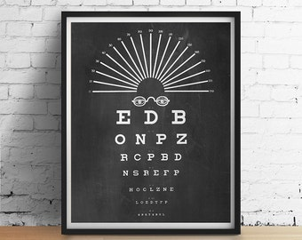 Vintage Eye Chart Art Print Optical Glasses Typography Chalkboard Black White Gray Minimalist Optometry Wall Art Decor Poster 5x7 8x10 11x14