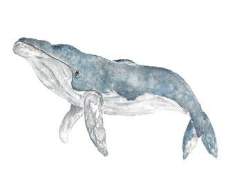 Whale art, whale print, watercolor whale, whale nursery art, animal nursery print, animal nursery wall art, humpback whale, beach print
