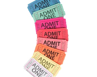 50 Admit One Tickets, Pick Your Color, Carnival Tickets, Birthday Party Decorations, Movie Night Tickets, Admission Tickets
