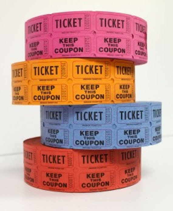 raffle tickets 2 part 100 mixed color tickets 100 tickets by lemon