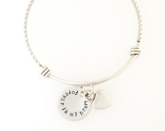 Remembrance Heart Urn Bangle Bracelet  - Custom - Personalized - Hand Stamped - Cremation Jewelry - Memorial Jewelry - Ashes - Sympathy Gift