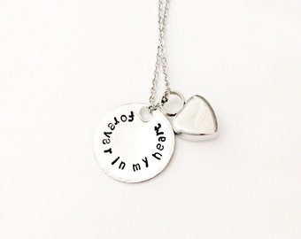 Remembrance Heart Urn Charm Necklace  - Custom - Personalized - Hand Stamped - Cremation Jewelry - Memorial Jewelry - Ashes - Sympathy Giftr
