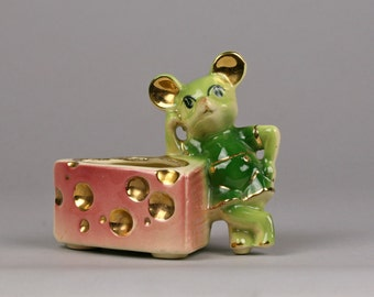 Vintage Planter, Green Mouse and Rose Cheese, made in USA, Fun for Parties and Kitschen Decor