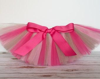 "Hot Pink, Light Pink, Grey tutu ""Madison"" Newborn tutu baby tutu photo prop birthday tutu 3 months 6 months 9 months 12 months 18 months"