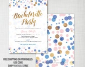 Confetti Bachelorette Party invitations • navy, pink, gold effect • printable or printed • printables ship free: use code SHIPPRINTABLESFREE