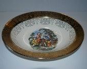Crest o Gold Sabin china serving bowl  courting couple pattern 22k gold rim vintage china