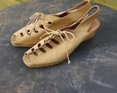 1980s does 40s sling back honey coloured tan suede sandals 38/UK 5, US 7