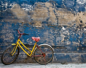 Travel Photography, Old, Bike, Yellow, Home Decor, Wall Art, Fine Art Print, Photography, Gift for him, Christmas gift idea, Art Print