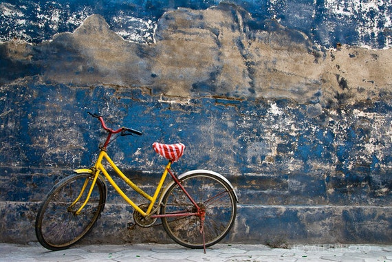Travel Photography, Old, Bike, Yellow, Home Decor, Wall Art, Fine Art Print, Photography, Gift for him, Christmas gift idea, Art Print