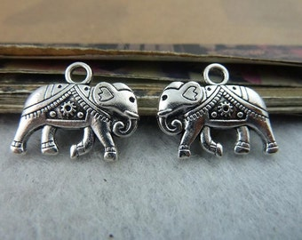 20pcs 16*20mm antique silver  two-sided solid elephant animal  Charms Pendants  C6516