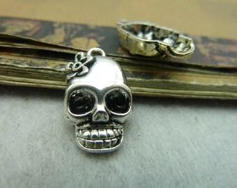 30pcs 13*21mm antique silver skull charms pendant  C5804