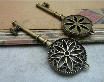 5pcs 25*76mm antique bronze key charms pendant C7521