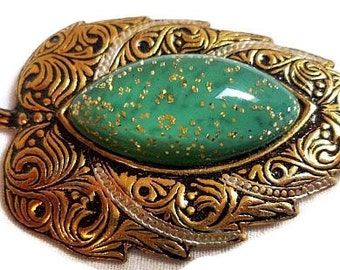 "Damascene Green Leaf Brooch Signed Spain Confetti Stone Black Enamel Gold Metal 2 1/4"" Vintage"