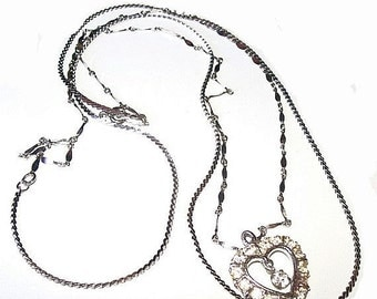 """Double Chain Heart Pendant Necklace Clear Ice Rhinestones Silver Metal 24"""" Vintage"""
