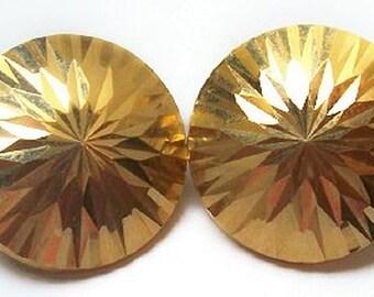 14K Gold Starburst Earrings Post Backs Pierced Ears Domed 1in NOS Vintage