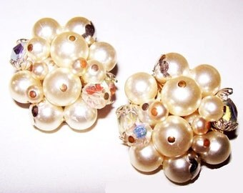 White Bead Crystal AB Earrings Pin & Wired Cluster Clip On Style 1950s Japan Vintage