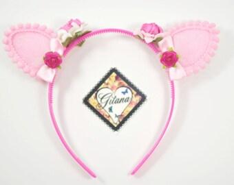 Pink Cat Ear Headband- Lolita Headband- Lolita Cat Ear- Cat Ear- Kawaii- Cosply- Pink- Girl Headband-Cat Valentine Headband-St Valentine