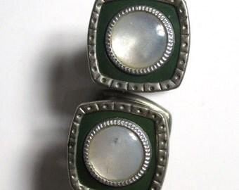 Art Deco era Snap Cufflinks -  Snap-Link mother of pearl on basemetal , vintage Cuff Links