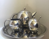 Art Deco Chrome Teapot Set with Serving Platter