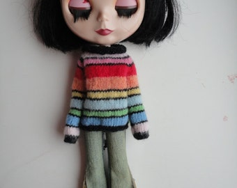 Hand Knitted Beautiful Colorful Soft Sweaters for Blythe Doll