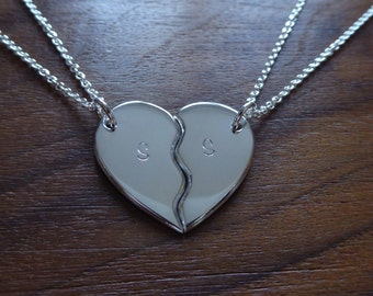 Personalised Two Piece Heart Puzzle, Best Friends Pendant Necklaces