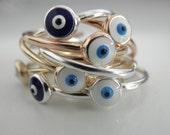 Evil eye ring  - adjustable evil eye ring - NEW - sterling silver evil eye ring - gold evil eye ring -  rose gold  evil eye ring -  eye ring