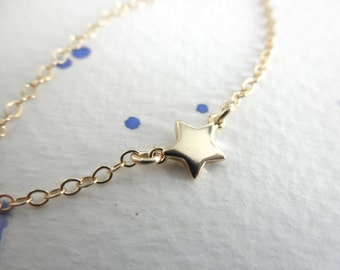 Mini gold  star  necklace - 14K gold-filled chain - single star - gold star necklace - chain necklace - teeny tiny charm - dainty jewelry
