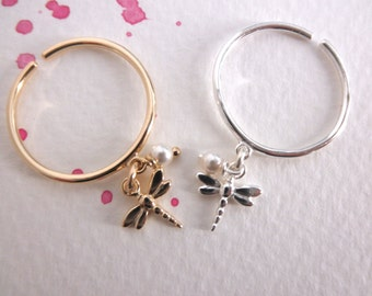 Dragonfly dangle ring with pearl  - adjustable ring  - silver dragonfly - gold  dragonfly charm ring