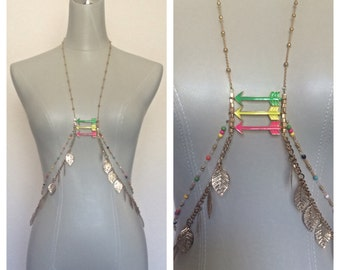 Going Somewhere - Gold Leaves, Green, Yellow, Hot Pink Arrows - Colorful Beads - Body Chain Jewelry, Festival Jewels - Fits XS to a Medium