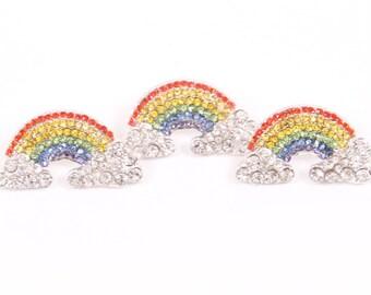 Metal Rhinestone Ribbon Sliders - set of three rainbows