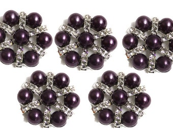 Metal Rhinestone Buttons - Pearl STAR button - 20mm - set of  FIVE - Purple pearl