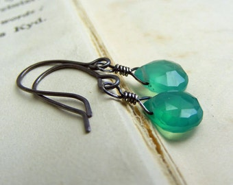 Faceted Green Onyx Briolette And Oxydised Sterling Silver Drop Earrings