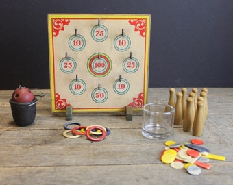 Vintage Wood Games  // Ring Toss, Tiddly Winks, Bowling Pins // Vintage Toys