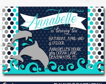 """Diy Personalized Blue """"Dolphin"""" Under The Sea Inspired Birthday Party Digital Printable 4""""x6"""" or 5""""x7"""" Invitation"""