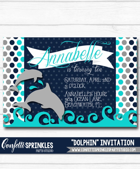 Diy Personalized Blue Dolphin Under The Sea Inspired Birthday Party Digital Printable 4x6 Or 5x7 Invitation